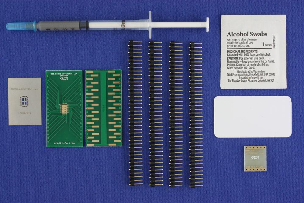 LFCSP-38 (0.5 mm pitch, 5 x 7 mm body, 3.5 x 5.5 mm pad) PCB and Stencil Kit 0