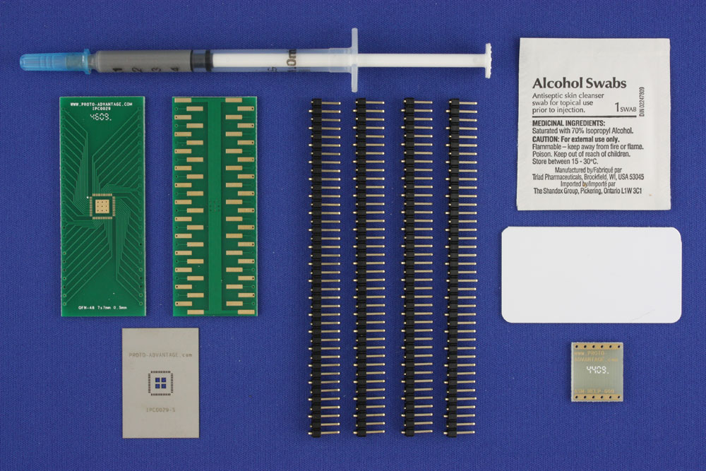 LFCSP-48 (0.5 mm pitch, 7 x 7 mm body, 4 x 4 mm pad) PCB and Stencil Kit 0
