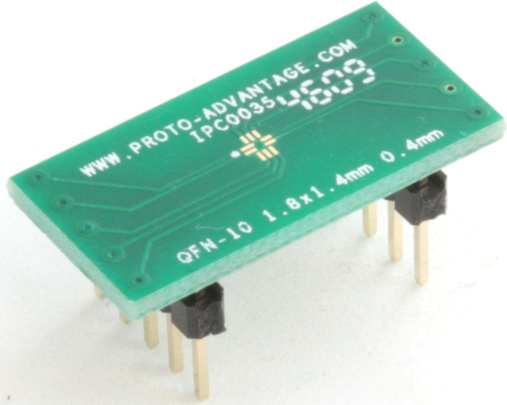 QFN-10 to DIP-10 SMT Adapter (0.4 mm pitch, 1.8 x 1.4 mm body) 0