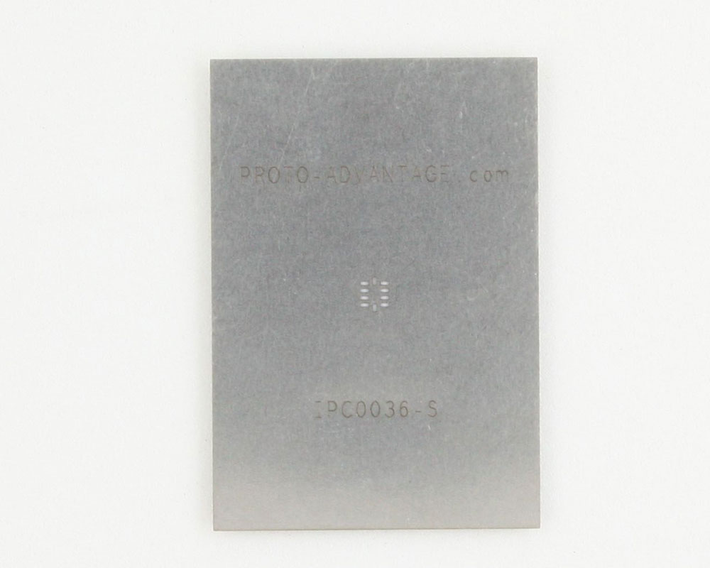 QFN-10 (0.5 mm pitch, 2.1 x 1.6 mm body) Stainless Steel Stencil 0