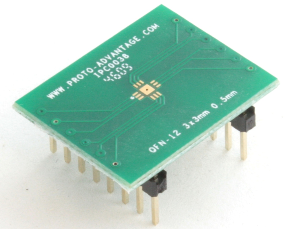 QFN-12 to DIP-16 SMT Adapter (0.5 mm pitch, 3 x 3 mm body, 1.7 x 1.7 mm pad) 0