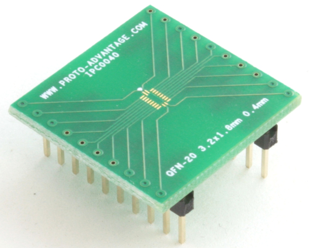 QFN-20 to DIP-20 SMT Adapter (0.4 mm pitch, 3.2 x 1.8 mm body) 0
