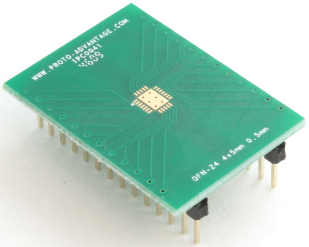QFN-24 to DIP-28 SMT Adapter (0.5 mm pitch, 4 x 5 mm body, 2.65 x 3.65 mm pad) 0