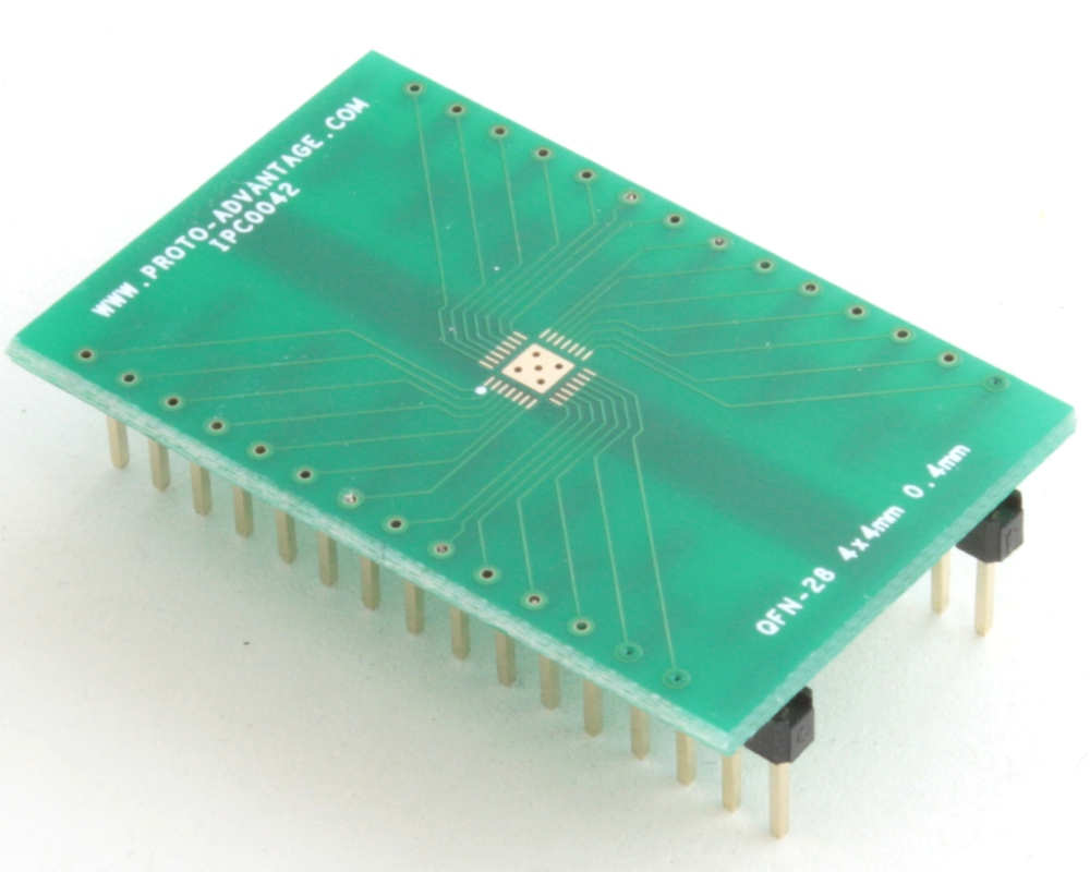QFN-28 to DIP-32 SMT Adapter (0.4 mm pitch, 4 x 4 mm body, 2.4 x 2.4 mm pad) 0
