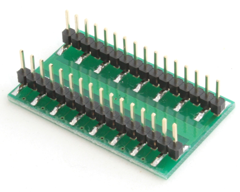 QFN-28 to DIP-32 SMT Adapter (0.4 mm pitch, 4 x 4 mm body, 2.4 x 2.4 mm pad) 1