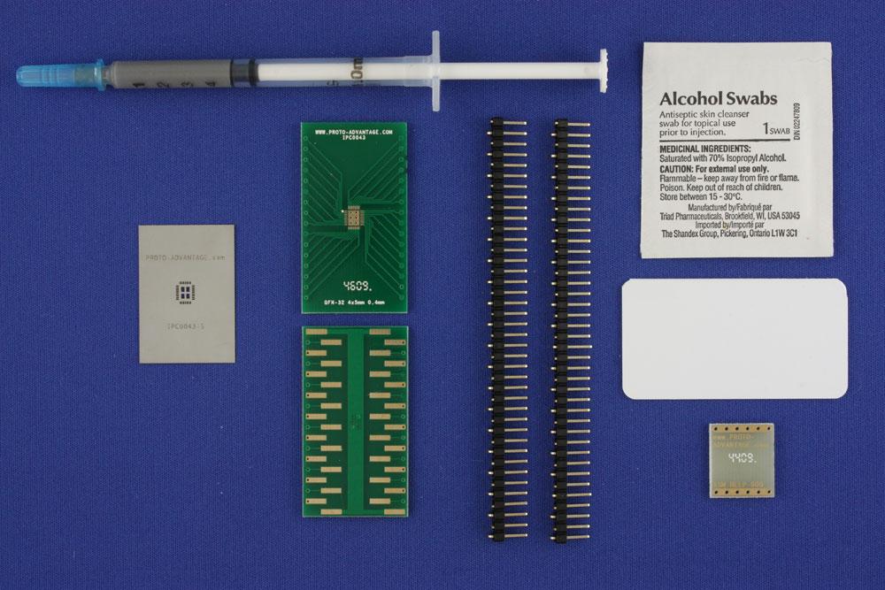 LFCSP-32 (0.4 mm pitch, 4 x 5 mm body, 2.5 x 3.5 mm pad) PCB and Stencil Kit 0