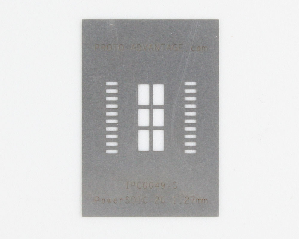 PSOP-20 (1.27 mm pitch, 16 x 11 mm body) Stainless Steel Stencil 0