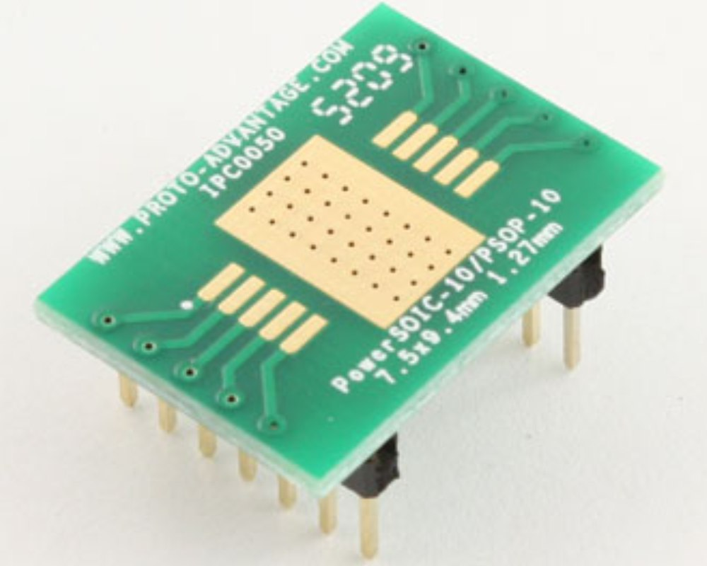 PSOP-10 to DIP-14 SMT Adapter (1.27 mm pitch, 7.5 x 9.4 mm body) 0