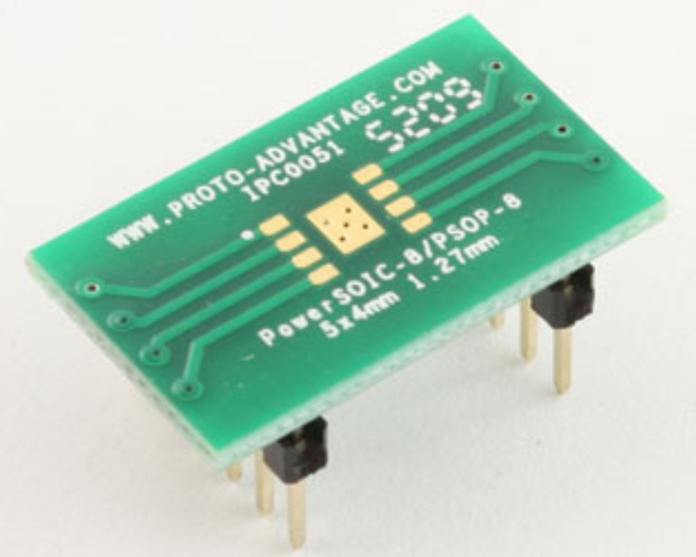 HSOP-8 to DIP-12 SMT Adapter (1.27 mm pitch, 5.0 x 4.0 mm body) 0