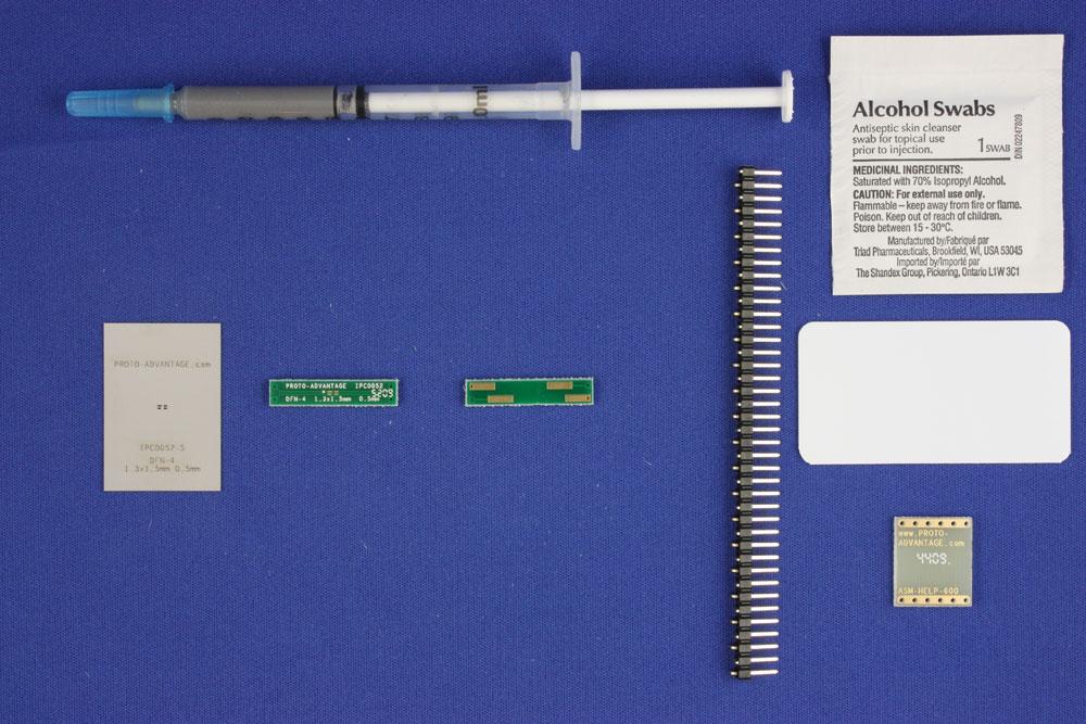 DFN-4 (0.5 mm pitch, 1.3 x 1.5 mm body) PCB and Stencil Kit 0