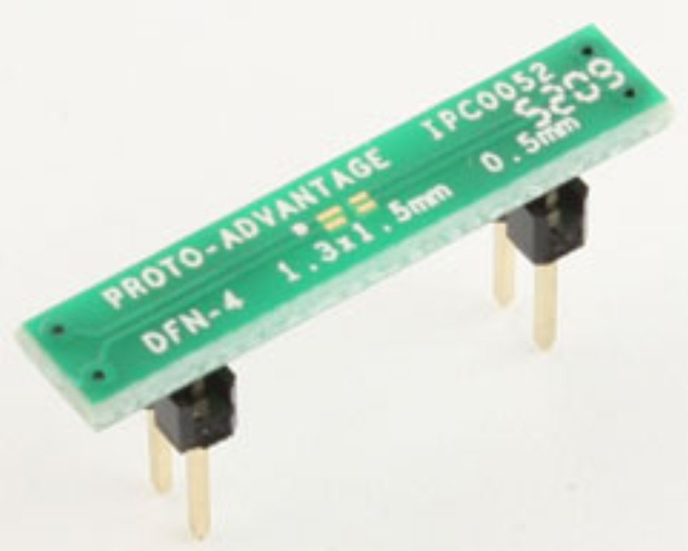 DFN-4 to DIP-4 SMT Adapter (0.5 mm pitch, 1.3 x 1.5 mm body) 0