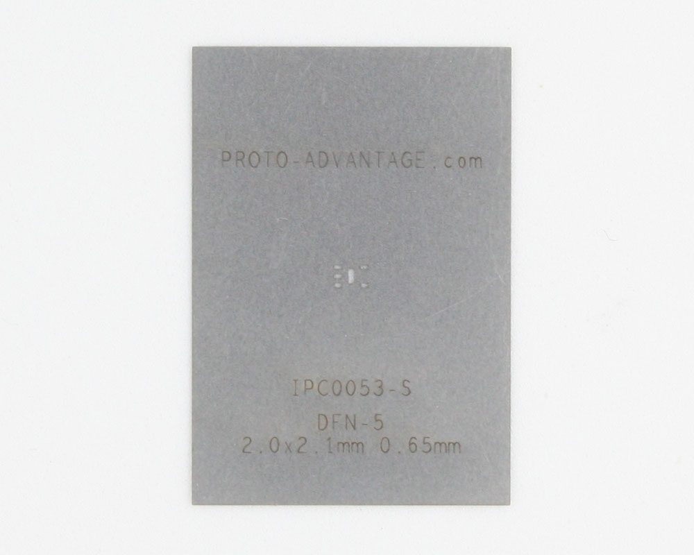 DFN-5 (0.65 mm pitch, 2.0 x 2.1 mm body) Stainless Steel Stencil 0