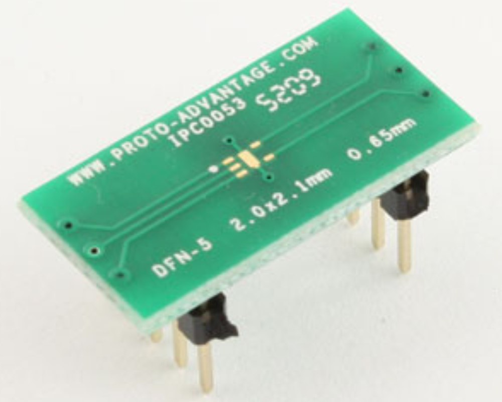 DFN-5 to DIP-10 SMT Adapter (0.65 mm pitch, 2.0 x 2.1 mm body) 0