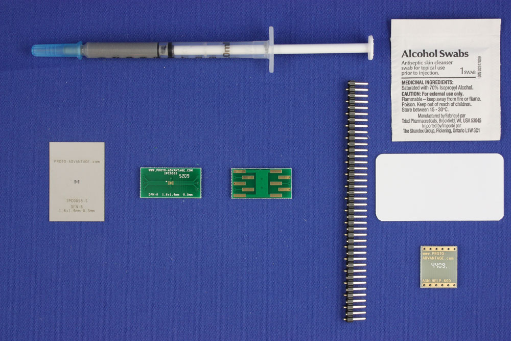 DFN-6 (0.5 mm pitch, 1.6 x 1.6 mm body) PCB and Stencil Kit 0