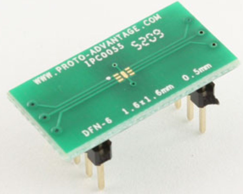 DFN-6 to DIP-10 SMT Adapter (0.5 mm pitch, 1.6 x 1.6 mm body) 0