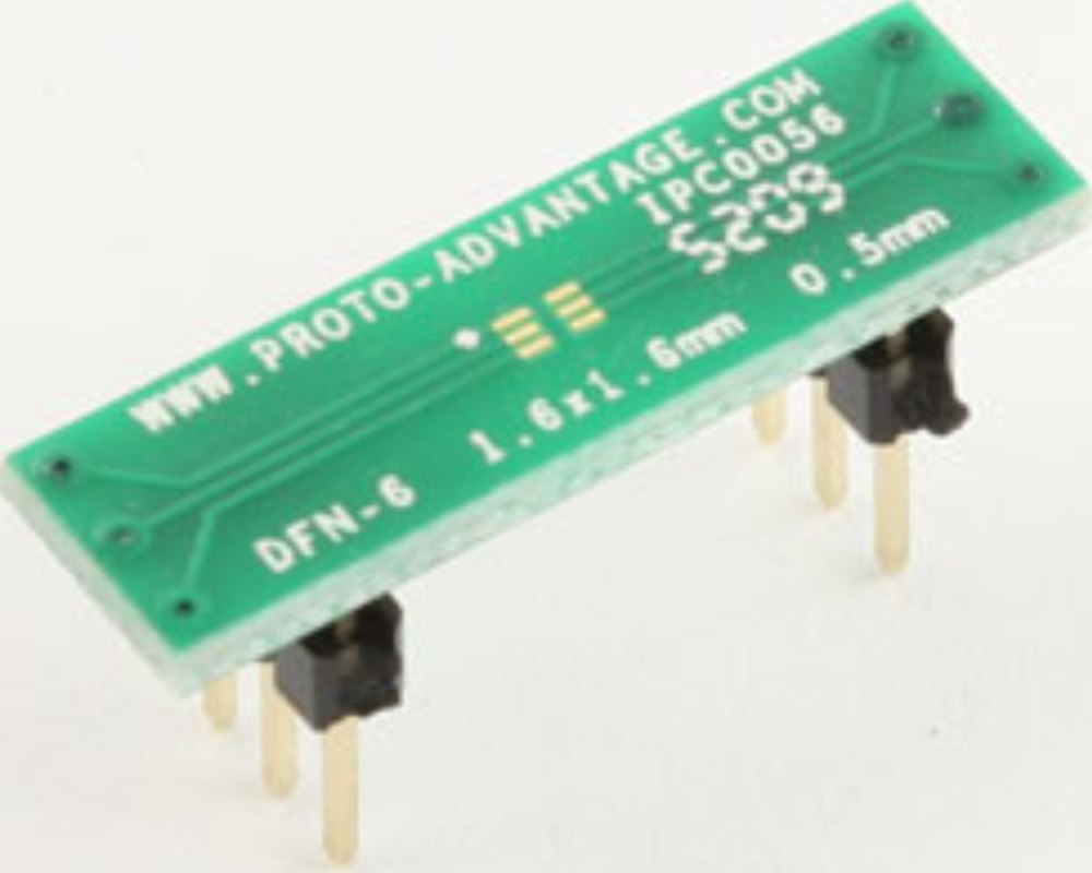 DFN-6 to DIP-6 SMT Adapter (0.5 mm pitch, 1.6 x 1.6 mm body) 0