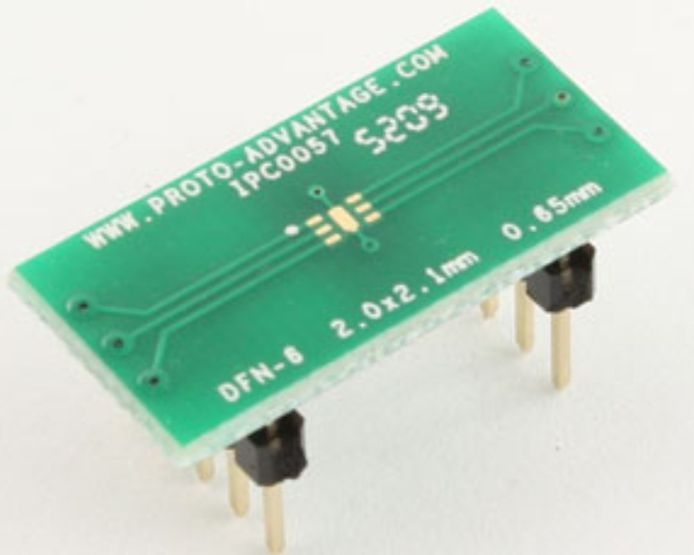 DFN-6 to DIP-10 SMT Adapter (0.65 mm pitch, 2.0 x 2.1 mm body) 0