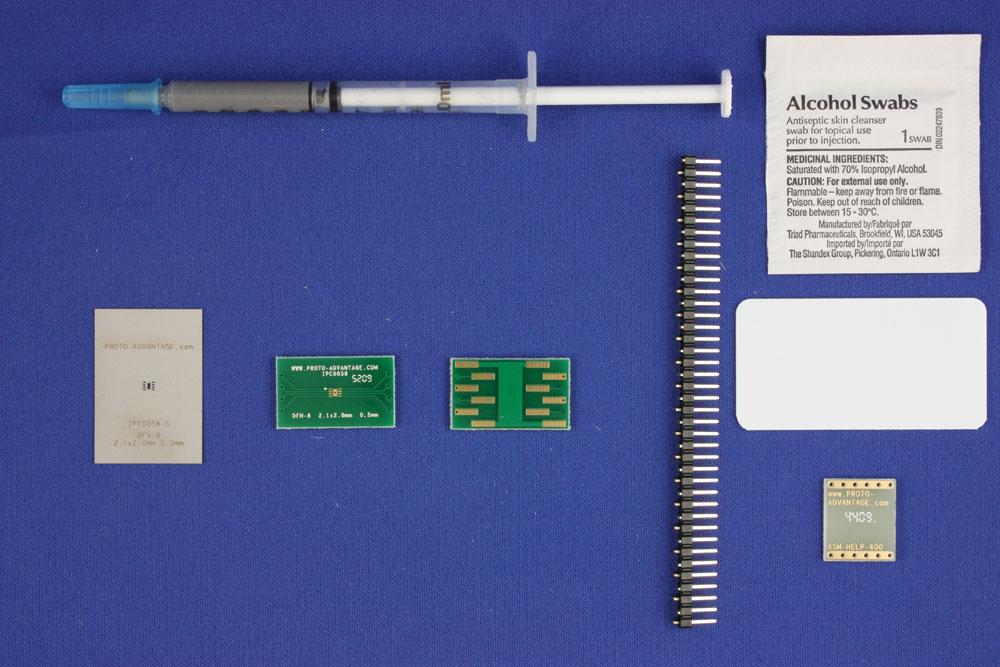 DFN-8 (0.5 mm pitch, 2.1 x 2.0 mm body) PCB and Stencil Kit 0