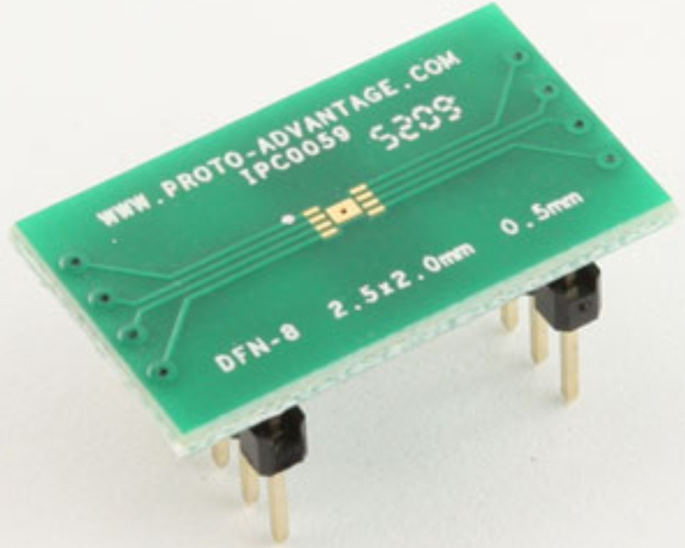 DFN-8 to DIP-12 SMT Adapter (0.5 mm pitch, 2.5 x 2.0 mm body) 0