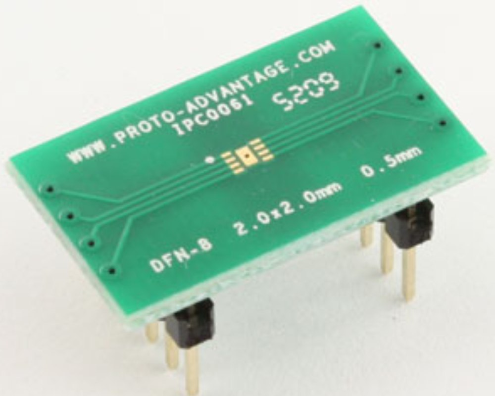 DFN-8 to DIP-12 SMT Adapter (0.5 mm pitch, 2.0 x 2.0 mm body) 0