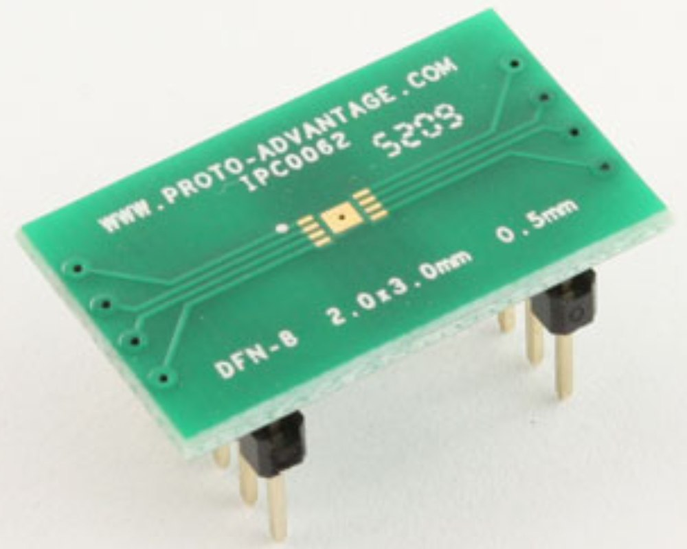 DFN-8 to DIP-12 SMT Adapter (0.5 mm pitch, 2.0 x 3.0 mm body) 0