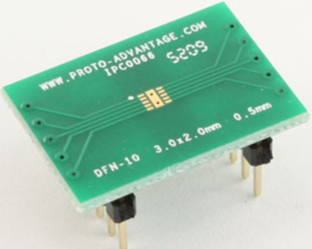 DFN-10 to DIP-14 SMT Adapter (0.5 mm pitch, 3.0 x 2.0 mm body) 0
