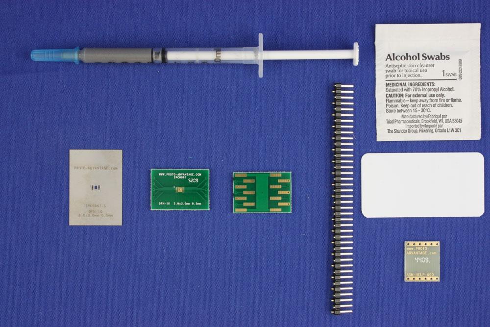 DFN-10 (0.5 mm pitch, 3.0 x 3.0 mm body) PCB and Stencil Kit 0