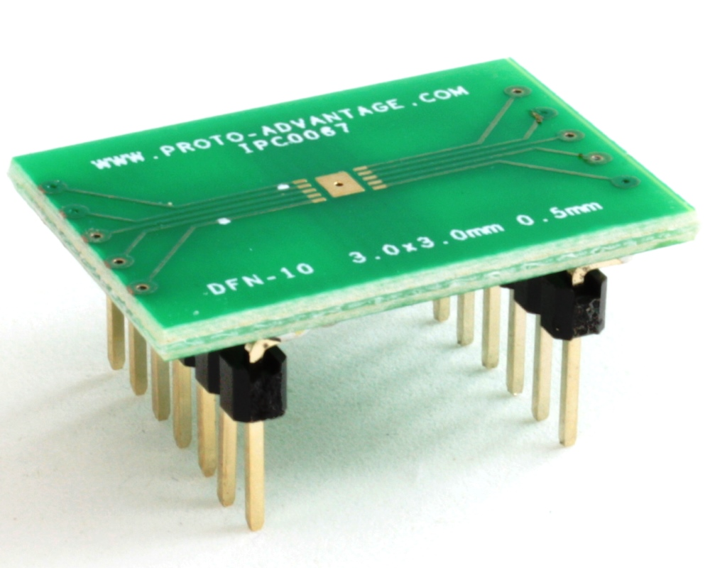 DFN-10 to DIP-14 SMT Adapter (0.5 mm pitch, 3.0 x 3.0 mm body) 0