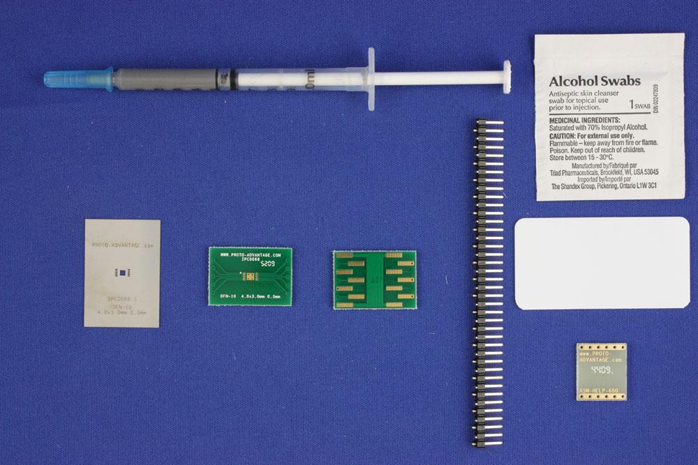 DFN-10 (0.5 mm pitch, 4.0 x 3.0 mm body) PCB and Stencil Kit 0