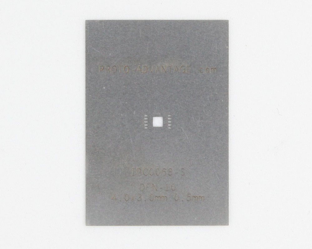 DFN-10 (0.5 mm pitch, 4.0 x 3.0 mm body) Stainless Steel Stencil 0