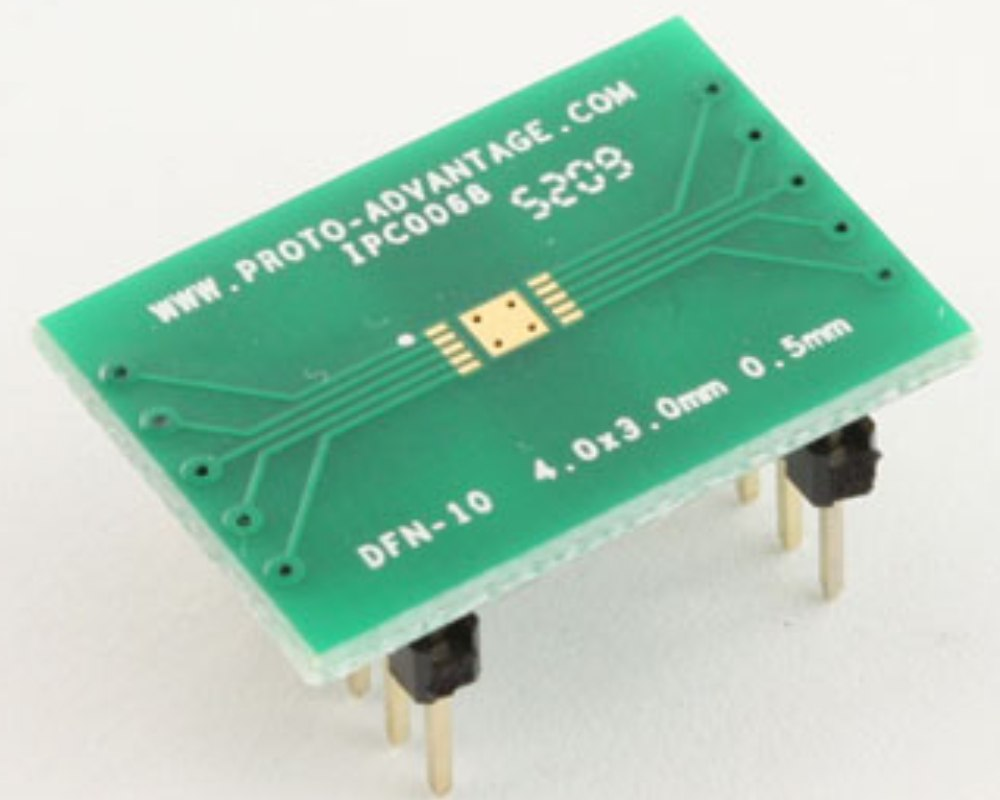 DFN-10 to DIP-14 SMT Adapter (0.5 mm pitch, 4.0 x 3.0 mm body) 0