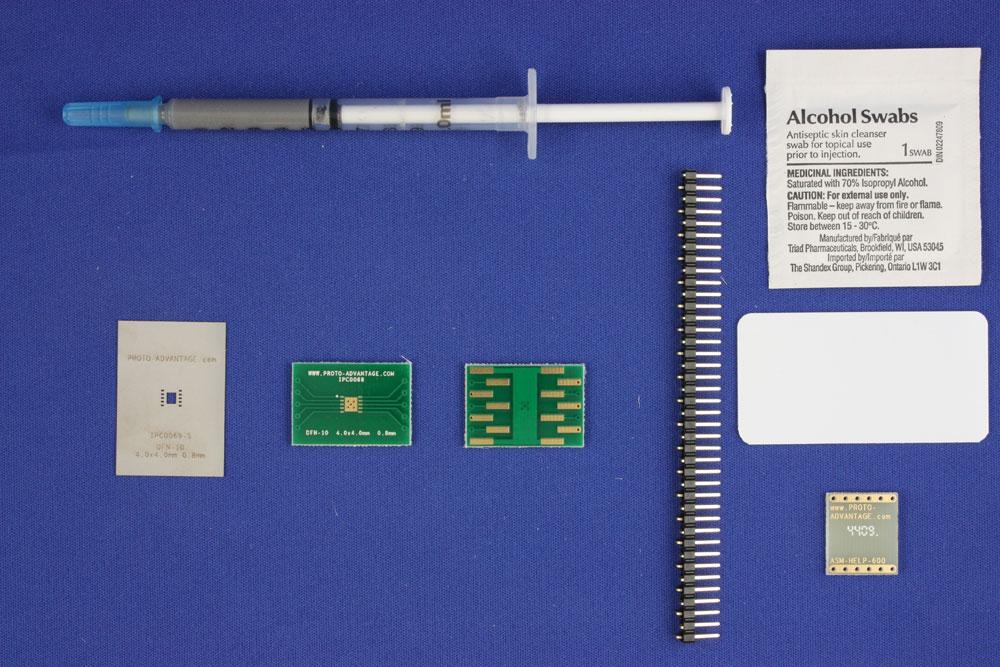 DFN-10 (0.8 mm pitch, 4.0 x 4.0 mm body) PCB and Stencil Kit 0