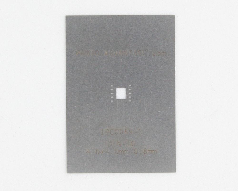 DFN-10 (0.8 mm pitch, 4.0 x 4.0 mm body) Stainless Steel Stencil 0
