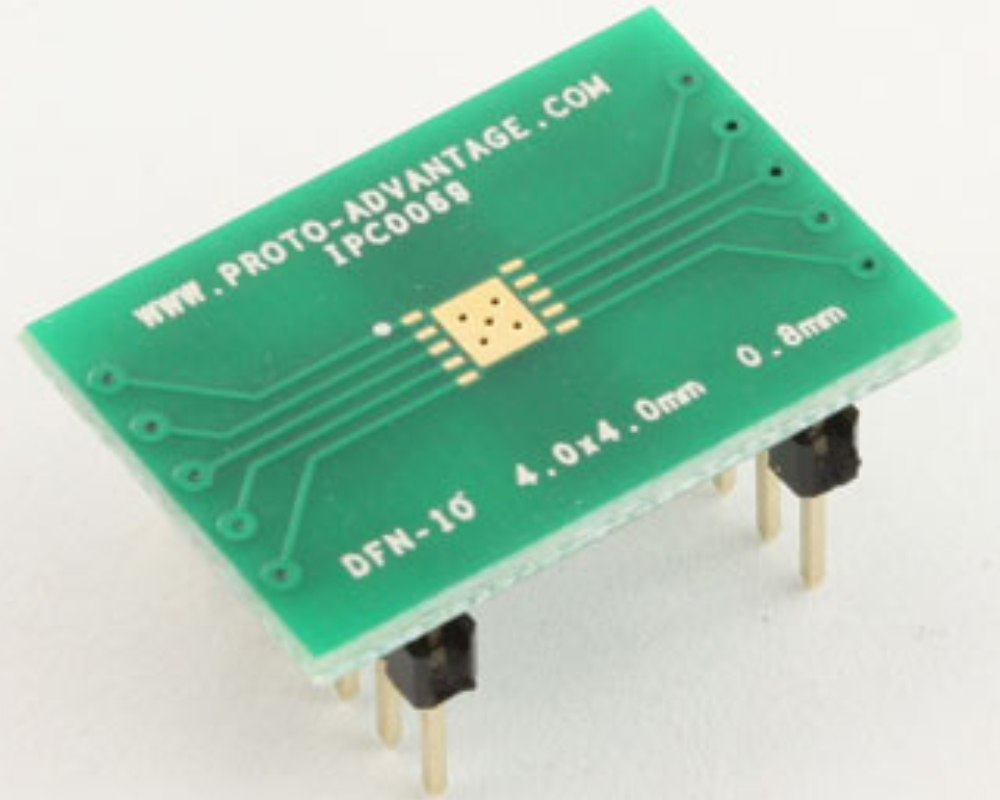 DFN-10 to DIP-14 SMT Adapter (0.8 mm pitch, 4.0 x 4.0 mm body) 0