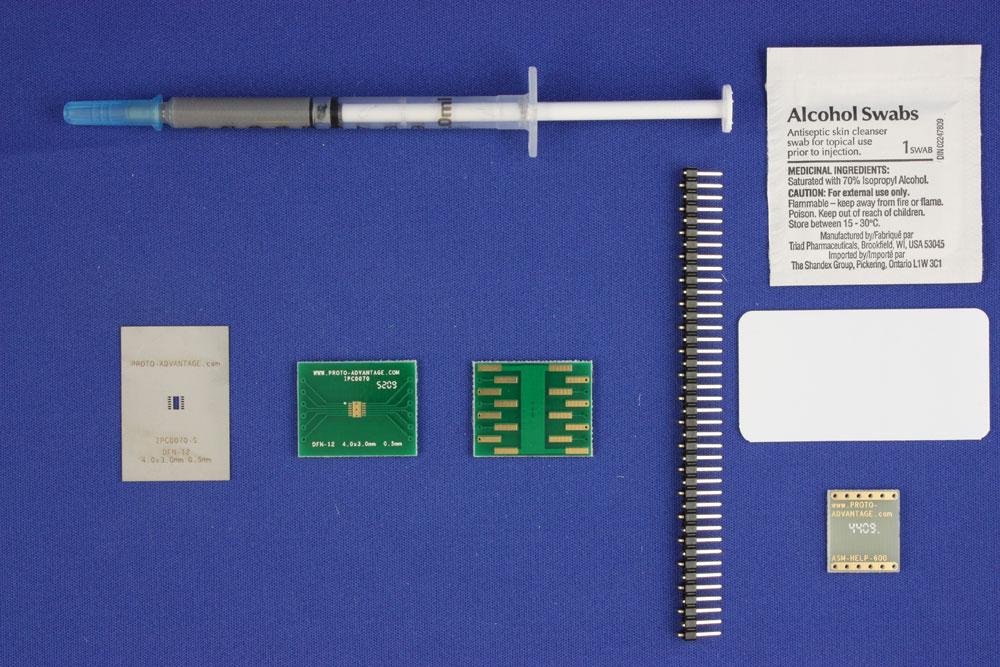 DFN-12 (0.5 mm pitch, 4.0 x 3.0 mm body) PCB and Stencil Kit 0