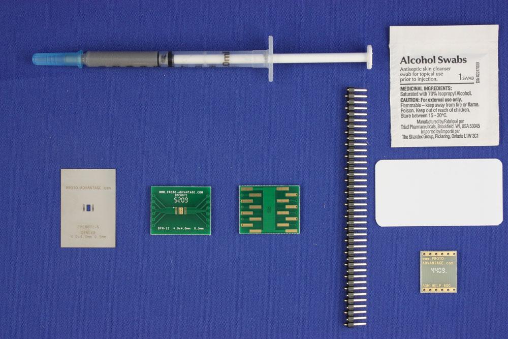 DFN-12 (0.5 mm pitch, 4.0 x 4.0 mm body) PCB and Stencil Kit 0