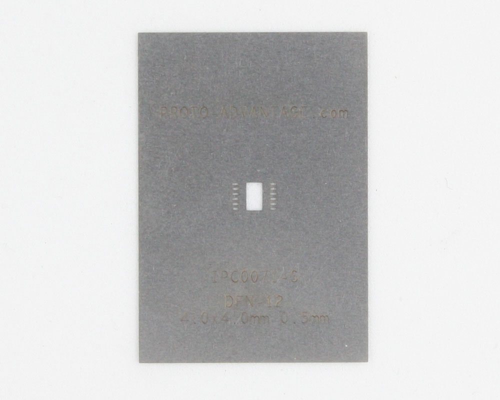 DFN-12 (0.5 mm pitch, 4.0 x 4.0 mm body) Stainless Steel Stencil 0