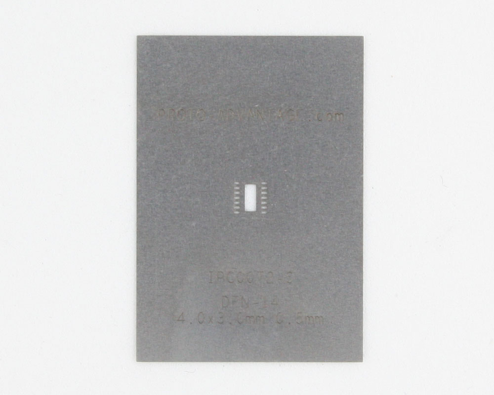 DFN-14 (0.5 mm pitch, 4.0 x 3.0 mm body) Stainless Steel Stencil 0