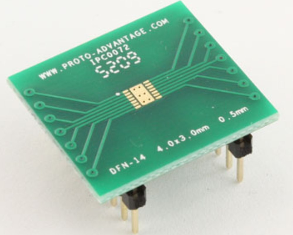 DFN-14 to DIP-18 SMT Adapter (0.5 mm pitch, 4.0 x 3.0 mm body) 0