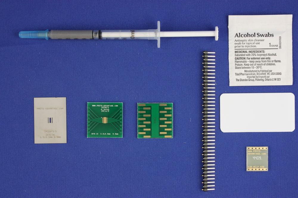 DFN-16 (0.5 mm pitch, 5.0 x 3.0 mm body) PCB and Stencil Kit 0