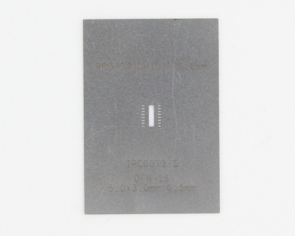 DFN-16 (0.5 mm pitch, 5.0 x 3.0 mm body) Stainless Steel Stencil 0