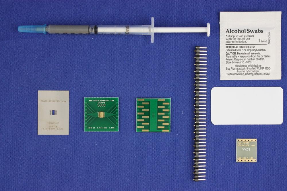 DFN-16 (0.5 mm pitch, 5.0 x 4.0 mm body) PCB and Stencil Kit 0