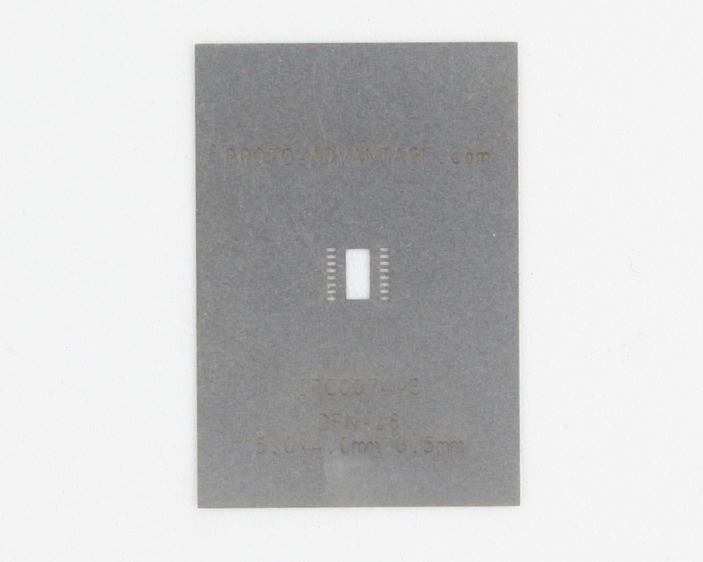 DFN-16 (0.5 mm pitch, 5.0 x 4.0 mm body) Stainless Steel Stencil 0