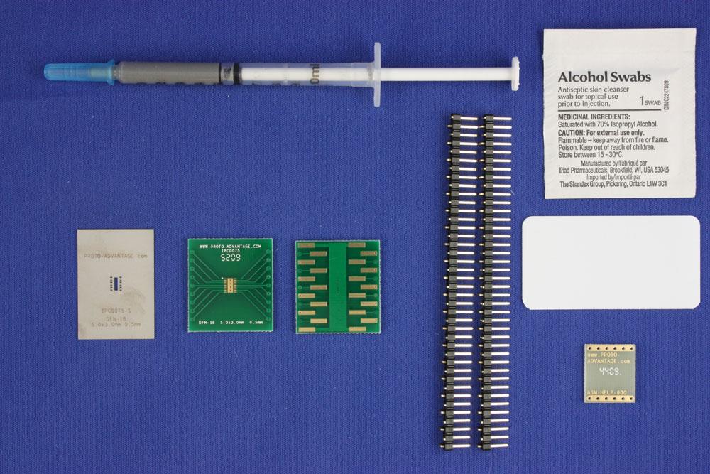DFN-18 (0.5 mm pitch, 5.0 x 3.0 mm body) PCB and Stencil Kit 0
