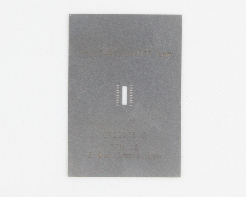 DFN-18 (0.5 mm pitch, 5.0 x 3.0 mm body) Stainless Steel Stencil 0