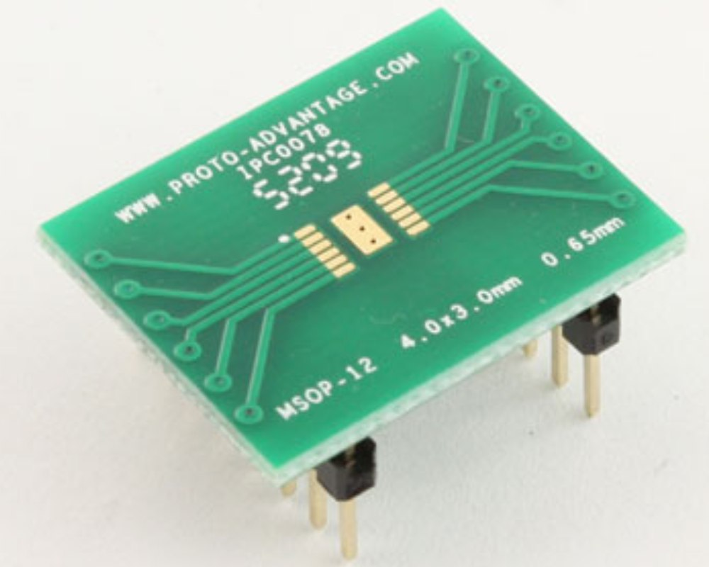 MSOP-12 to DIP-16 SMT Adapter (0.65 mm pitch, 4.0 x 3.0 mm body) 0