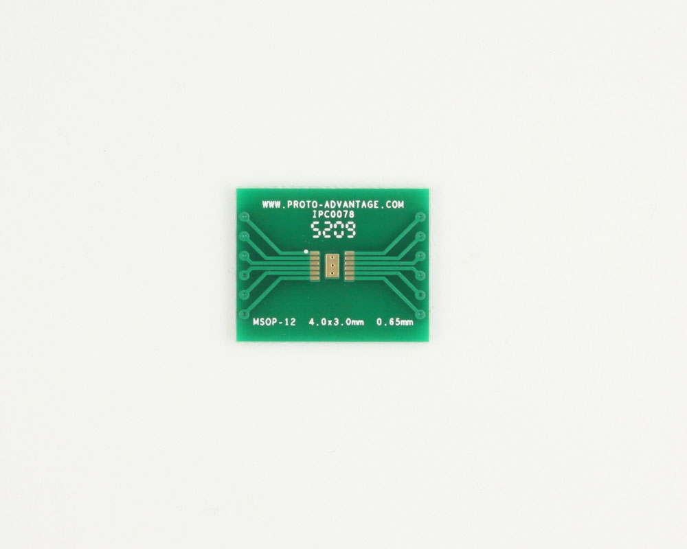 MSOP-12 to DIP-16 SMT Adapter (0.65 mm pitch, 4.0 x 3.0 mm body) 2