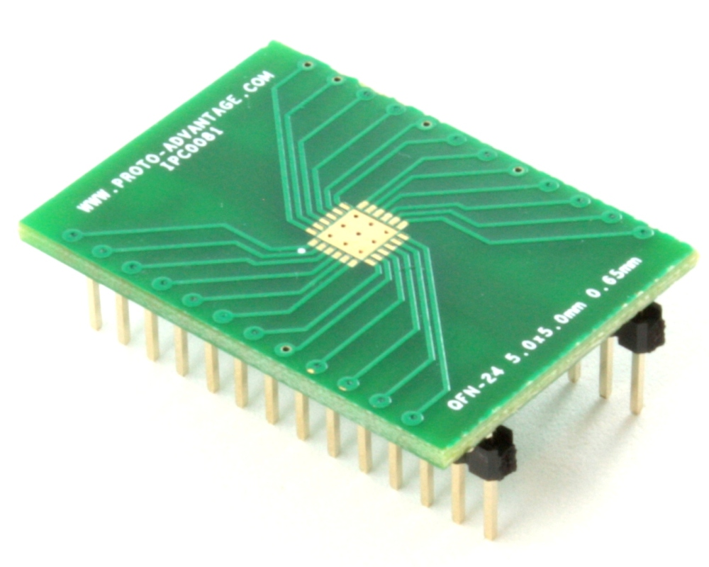 QFN-24 to DIP-28 SMT Adapter (0.65 mm pitch, 5.0 x 5.0 mm body, 3.6 x 3.6 mm pad 0