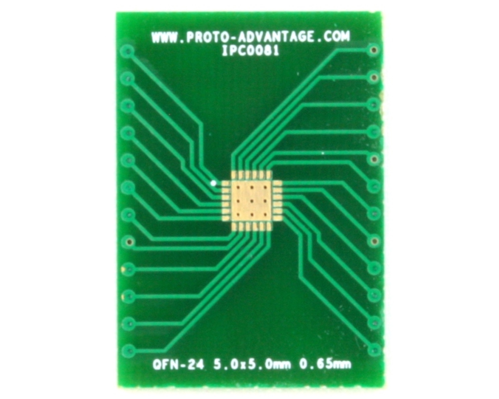 QFN-24 to DIP-28 SMT Adapter (0.65 mm pitch, 5.0 x 5.0 mm body, 3.6 x 3.6 mm pad 2