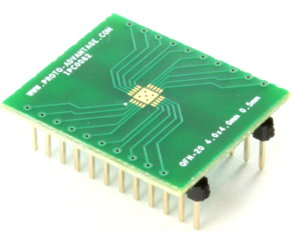 QFN-20 to DIP-24 SMT Adapter (0.5 mm pitch, 4.0 x 4.0 mm body, 2.5 x 2.5 mm pad) 0